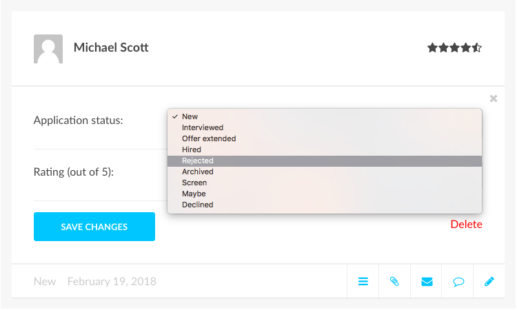 editing a candidate status on the profile card