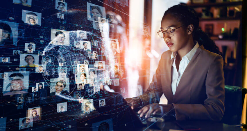 hiring manager using technology and her team to execute her firm's vision
